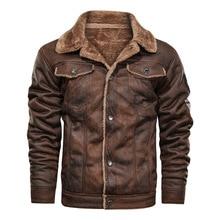 Chaqueta de cuero suelto para hombre, chaqueta informal de moda para otoño e invierno, con solapa, 2020