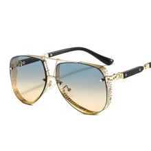 2021 New Hollow Pattern Oval Sunglasses Men Women Luxury Trend Brand Designer Metal Alloy Frame Gradients Lens conspicuous Pilot