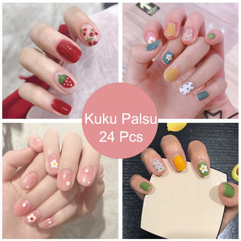 New fake nails finished nail art stickers wearable nails stickers wear-resistant waterproof 24 boxed TSLM2