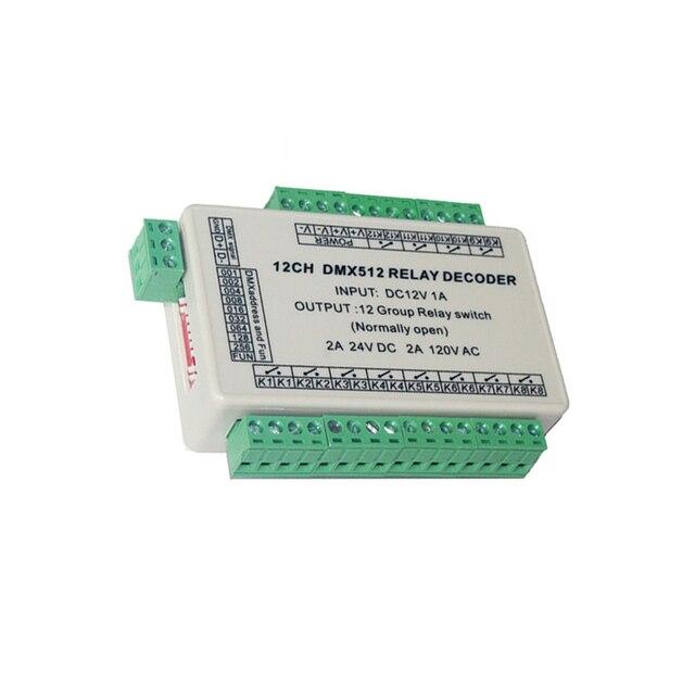12 kanałowy łącznik przekaźnikowy kontroler led sygnału dmx512, wyjście przekaźnikowe, tylko kontrola sygnału, nie można użyć regulacja mocy