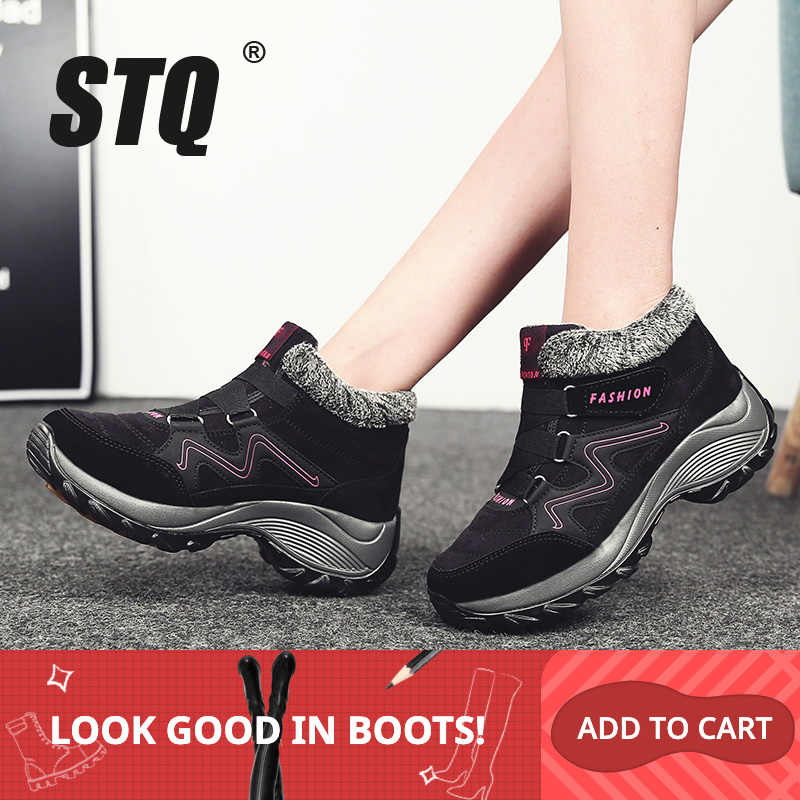 STQ kış kadın kar botları ayakkabı yuvarlak ayak yüksekliği artan yarım çizmeler ayakkabı bayanlar düz sıcak itme dantel-up kar çizmeler 6139