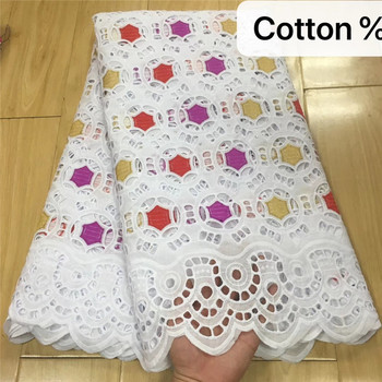 100% Cotton African Laces Fabrics 2020 High Quality voile Swiss voile Embroidery Lace Fabric 5Yards Wedding For Dresses kc82-891