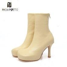 2020 outono/inverno nova passarela de salto alto botas de estiramento quente plataforma grossa curta moda cross-border botas femininas tamanho grande