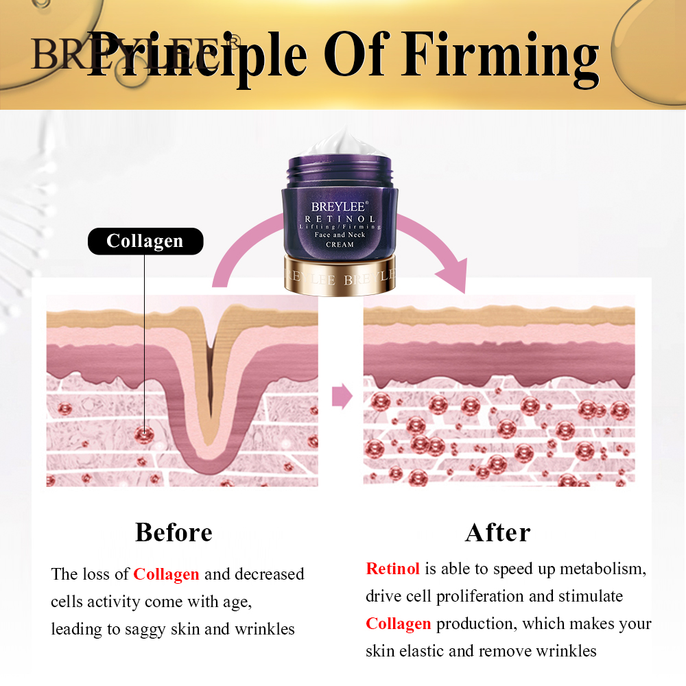 BREYLEE Retinol Firming Face Cream Lifting Neck Anti-Aging Removing Wrinkles Night Day Moisturizer Whitening Face Skin Care 40g 5