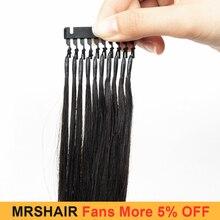 MRSHAIR 6D Hair Extensions Natural Human Hair 6D-1 High Tech Hair Extensions #2 1B For Salon Machine Remy Micro Link Hair 50g/pc