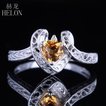 HELON Solid 10K White Gold Certified Trillion 1ct Natural Citrine & Diamond Ring For Women Trendy Bridal Engagement Jewelry Ring(China)
