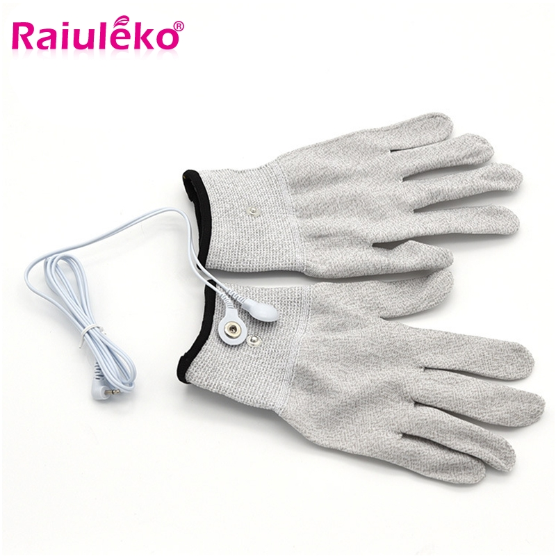 1Pair Magic Conductive Electrode Massage Gloves With Cable For Acupuncture Therapy Massager/Tens Pulse Health Care Machines