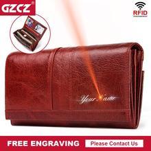 GZCZ Rfid Модный женский кошелек Дамский кожаный кошелек для монет держатель для карт женские кошельки высокого качества клатч роскошный бренд сумка для денег