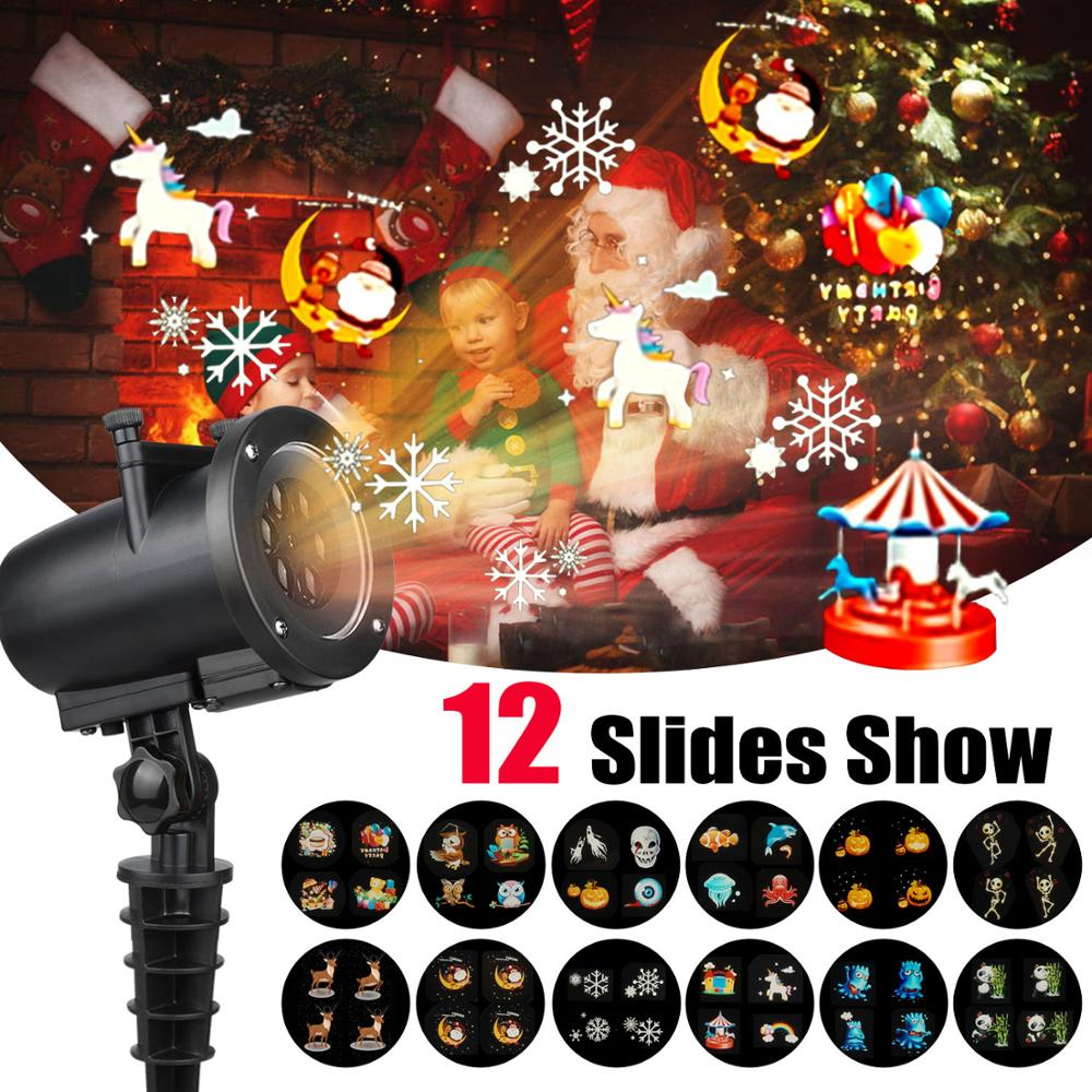 12 Patterns LED Moving Laser Projector Light LED Stage Lamp For Christmas New Year Party Light Landscape Garden Lamp