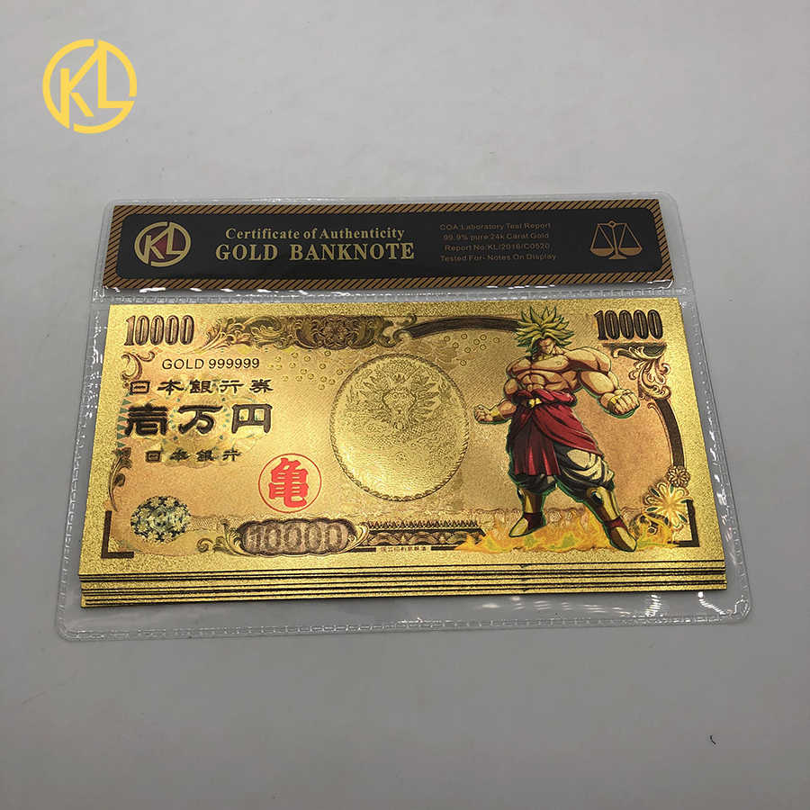 10pcs//lot Gold Foil banknote Japan 10000 Yen Bill Money dragon ball Sun Wukong