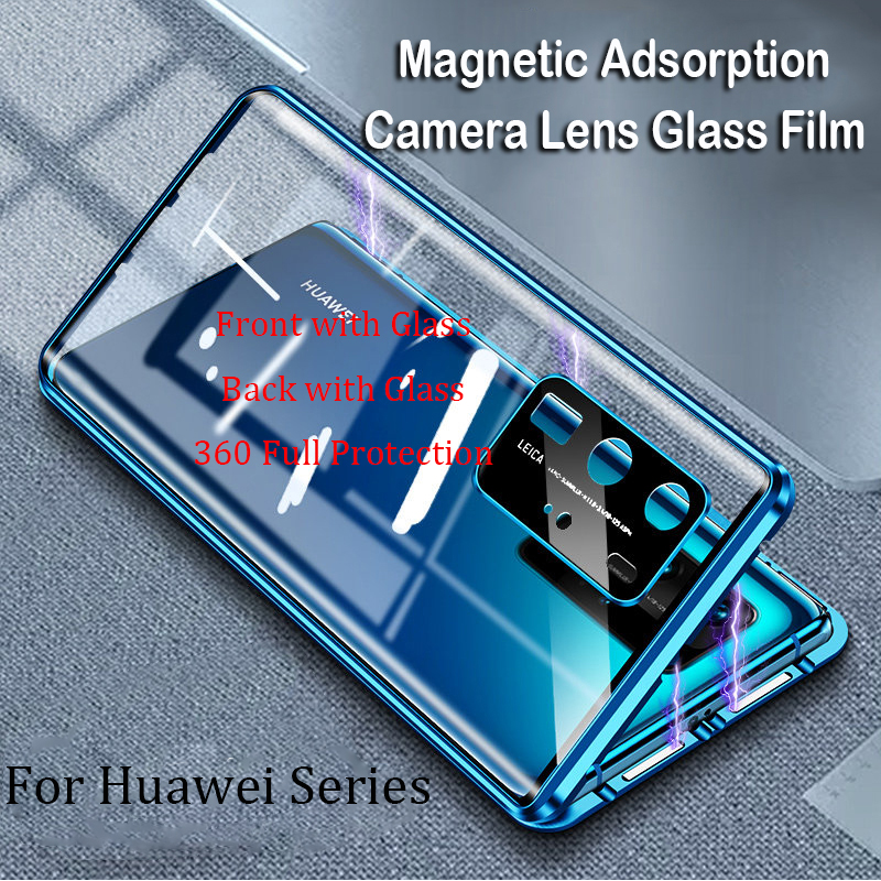 New Magnetic Phone Case For Huawei P40 Pro Mate 30 Mate 20 Pro Camera Lens Glass Case Nova 6 SE 5 Honor V30 20 Pro Metal Case