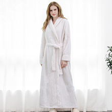 Men Winter Extra Long Thick Warm Grid Flannel Bathrobe Mens Luxury Kimono Bath Robe Women Sexy Robes Male Thermal Dressing Gown cheap Polyester Solid Ankle-Length Full