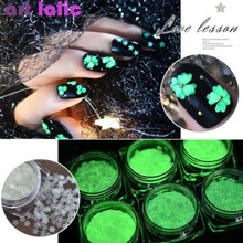 1 Box Moon Star Nail Art Glitter Sequins Luminous Glow in the Dark Flower Shape Flake Fluorescent Tips Decoration Manicure 6 box set fluorescent luminous nail art sequins star moon heart flower six style ultrathin glitter nail flakes glow in the dark