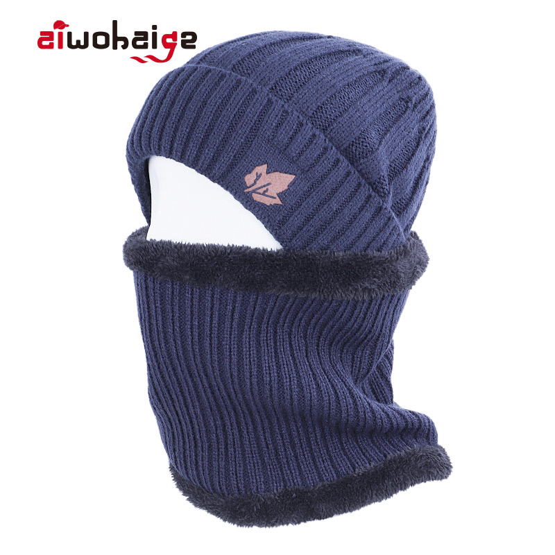 2019 New Brand Winter Knit Hat Ring Scarf Sets Maple Leaf Plus Velvet Thick Warm Hat Scarves Unisex Balaclava Soft Cap Bonnet