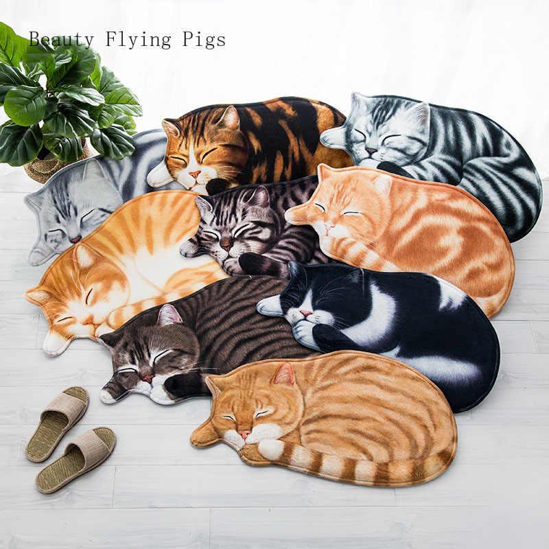 Three-dimensional creative personality cute cartoon cat hall hall carpet living room floor mats home bedroom suede hand wash