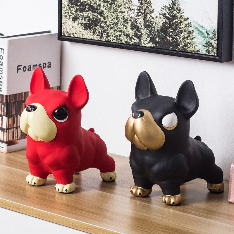 Nordic Cool Muscle Dog French Bulldog Statue Dog Art Sculpture Ceramic Home Decoration Ornament Animal Figurine Piggy Bank