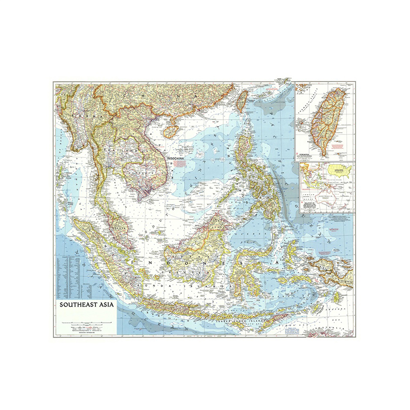 Southeast Asia 1955 Detailed Poster Map Of World 150*150cm Large World Map Wall Chart Paper Kraft Paper Painting Office Supplies