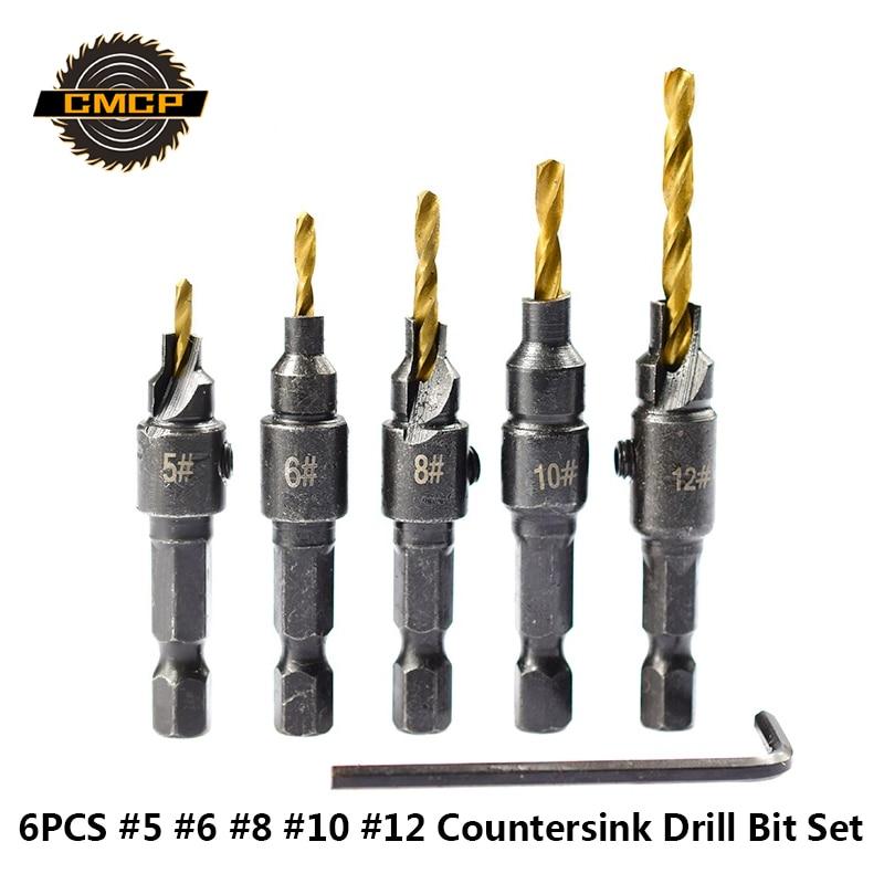6PCS HSS Steel Countersink Drill Bit 5/6/8/10/12 Woodworking Screw Hole Drill Bit Wood Drill Bit Titanium Coated Hole Cutter