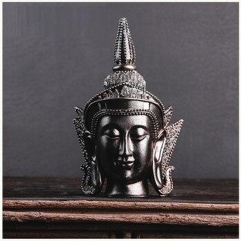 Creative Thai Buddha Head Art Sculpture Zen Buddha Decorative Figurine Statue Resin Crafts Restaurant Decorations For Home R3686