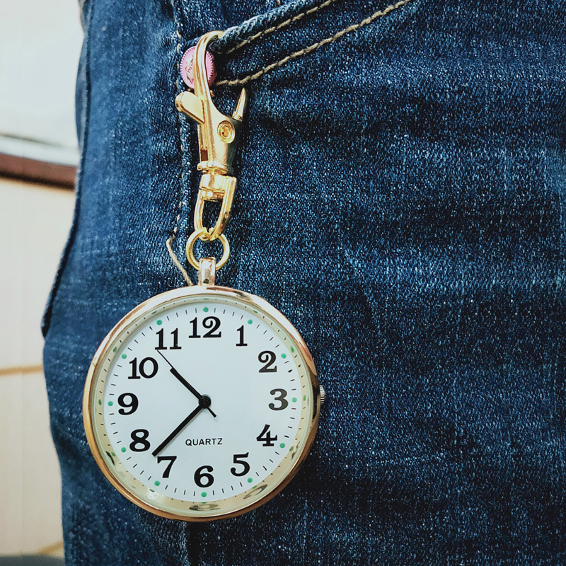 Quartz Pocket Watch Keychain Clocks Round Dial Portable Simple Pendant For Women Men TT@88