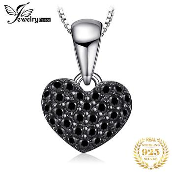 JPalace Heart Natural Black Spinel Pendant Necklace 925 Sterling Silver Gemstones Choker Statement Women Without Chain