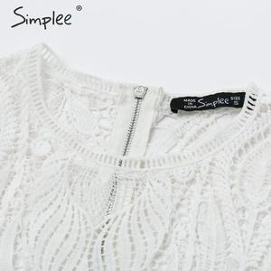 Image 5 - Simplee Sexy выдалбливают кружевные женские блузкa  Элегантный расклешенный   Прозрачный топ