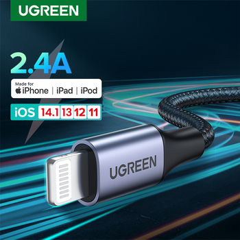 Ugreen MFi USB Cable for iPhone 12 Min 12 Pro Max X XR 11 2.4A Fast Charging Lightning Cable USB Data Cable Phone Charger Cable