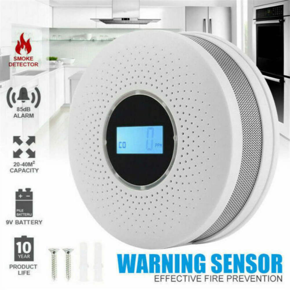 2 In 1 Smoke Alarm Carbon Monoxide Detector Warnning Sensor LCD Digital Display For Home Kitchen Safety