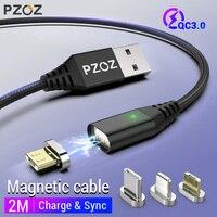 Cavo magnetico PZOZ 2M tipo C Micro USB C telefono a ricarica rapida Microusb tipo-c magnete caricabatterie cavo di ricarica usb C per iphone xiaomi