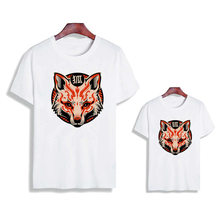 Hot sale mask printing matching family outfits T-shirt baby clothes Mom and son clothes, fashion T-shirt for dad and daughter(China)