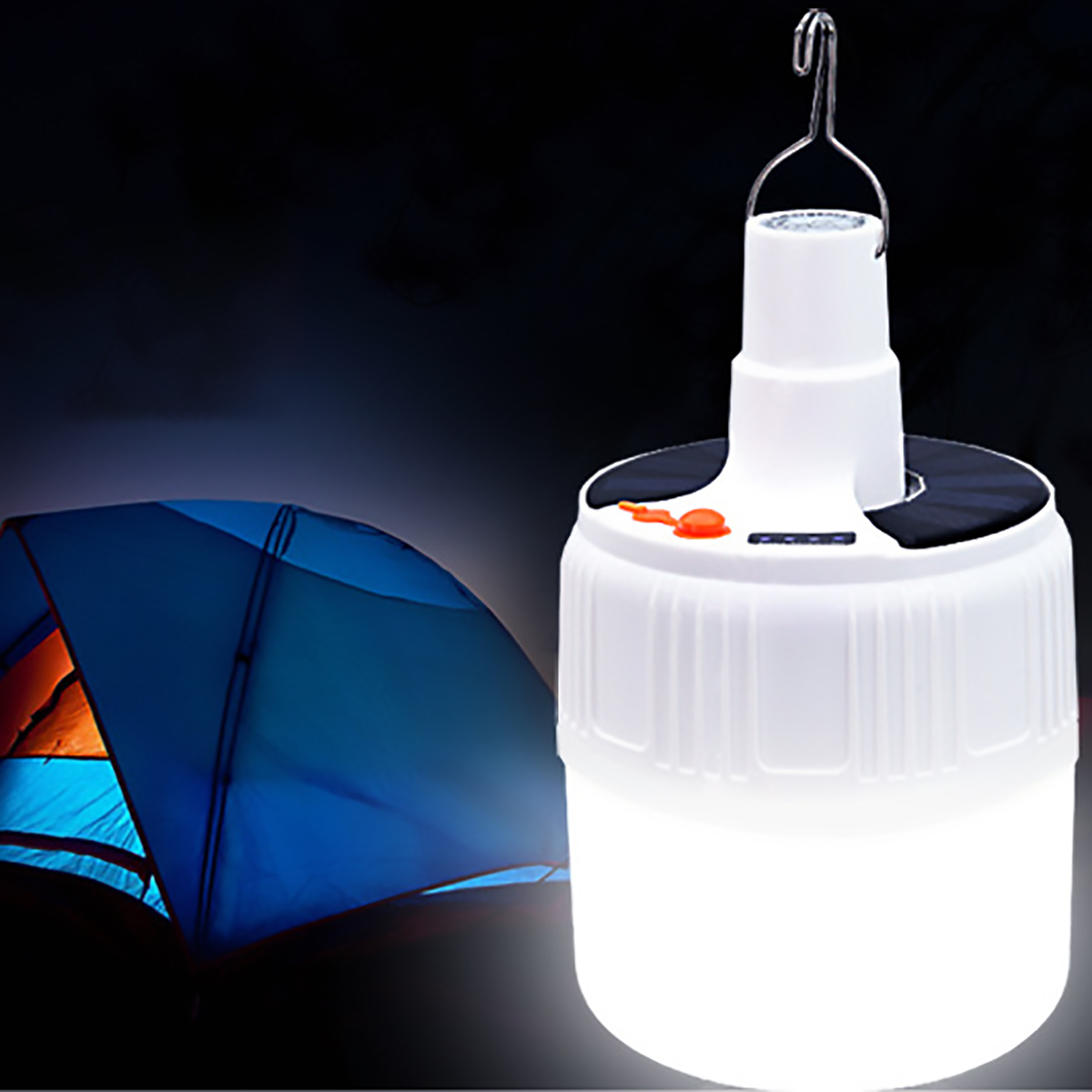 Portable Lamp 50W USB Rechargeable Emergency Lights Solar Charge Outdoor Garden Camping Hanging Night Light Lamp Tent Light