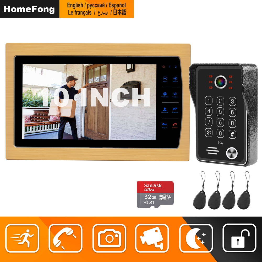 HomeFong 10 Inch Video Doorphone Intercom Monitor HD IR Night Vision Camera Doorbell Video For Home Apartment Video Deurbel Kit