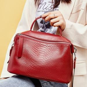 Image 2 - Zency Crocodile Pattern Women Tote Handbag Made Of Genuine Leather Daily Casual Crossbody Shoulder Bag For Lady Black Grey