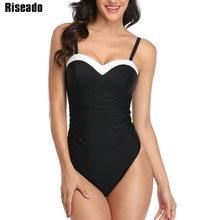 Riseado プッシュアップワンピース水着パッチワーク水着女性黒水着女性 2020 シャーリングストラップビーチ海水浴客を着用