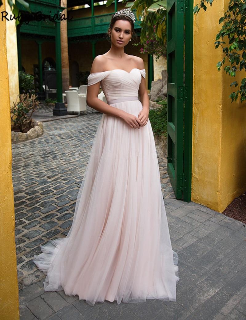 2020 Pink Tulle Wedding Dresses Off The Shoulder Sweetheart Sleeveless Sweep Train Wedding Bridal Gowns Vestido De Noiva YW24