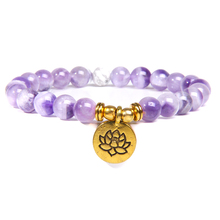 цена Women Bracelet for Om Buddha Lotus Beaded Wrist Yoga Buddha Bracelet Purple Amethysts Stone Bracelet Jewelry онлайн в 2017 году