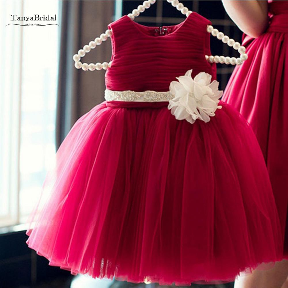Lovely Flower Girl Dresses Red Ruffle Soft Tulle Ball Gown With Sash For Wedding Party Guest Dresses Vestido XF004