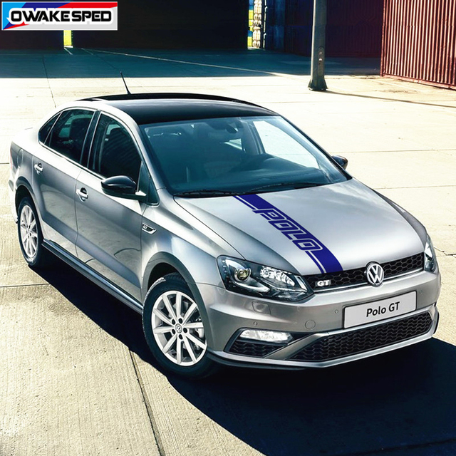 Car Hood Bonnet Decals Performance Limited Edition Sport Stripes For Volkswagen-POLO WRC-GTI-TSI Auto Engine Cover Decor Sticker
