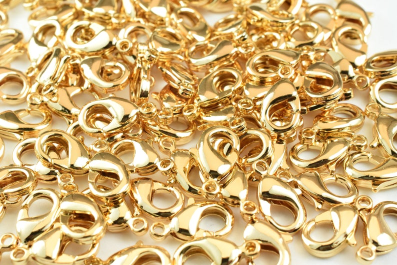 20PCs 18K Gold Filled Lobster Clasp, Various Sizes, 8x4mm, 9x5mm, 12x7mm, 14x8mm, 15x10mm Gold Filled Findings Beads Jewelry