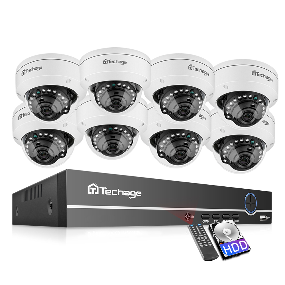 Techage 5MP H.265 POE NVR Dome Camera System 5MP Audio Sound Record Vandalproof Indoor CCTV Security P2P Video Surveillance Set