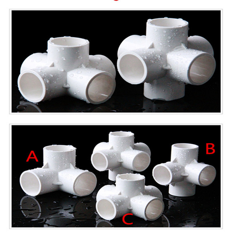 5 Pcs PVC 3/4/5-Way Side Outlet Elbow Straight Tee Elbow Pipe Fittings 20/25/32mm For Home Garden Water Connectors Shelf DIY