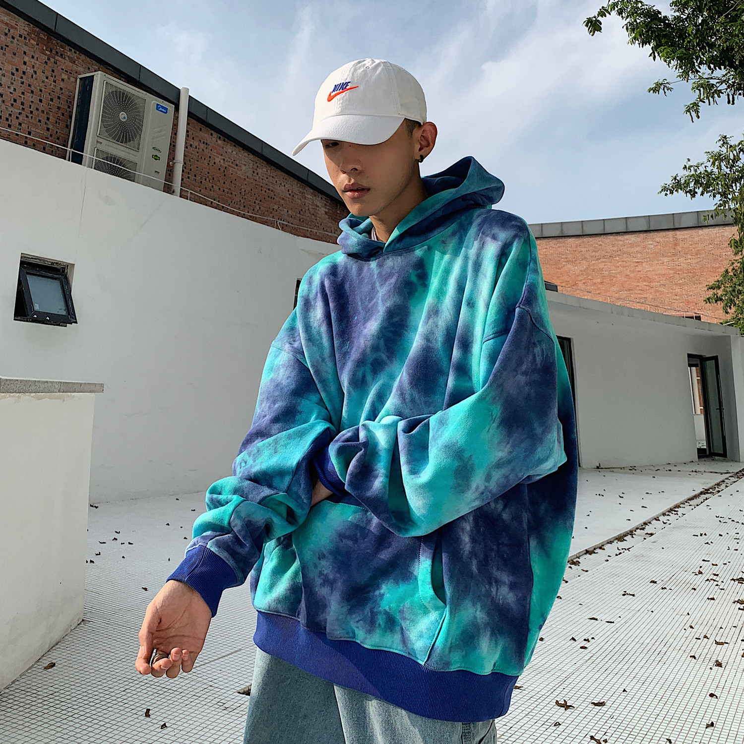 2020 New Hip Hop Hoodies Men Fashion Tie Dyeing Casual Pullover Blue Hoodies Men Autumn Hoody Sweatshirts Streetwear Popping