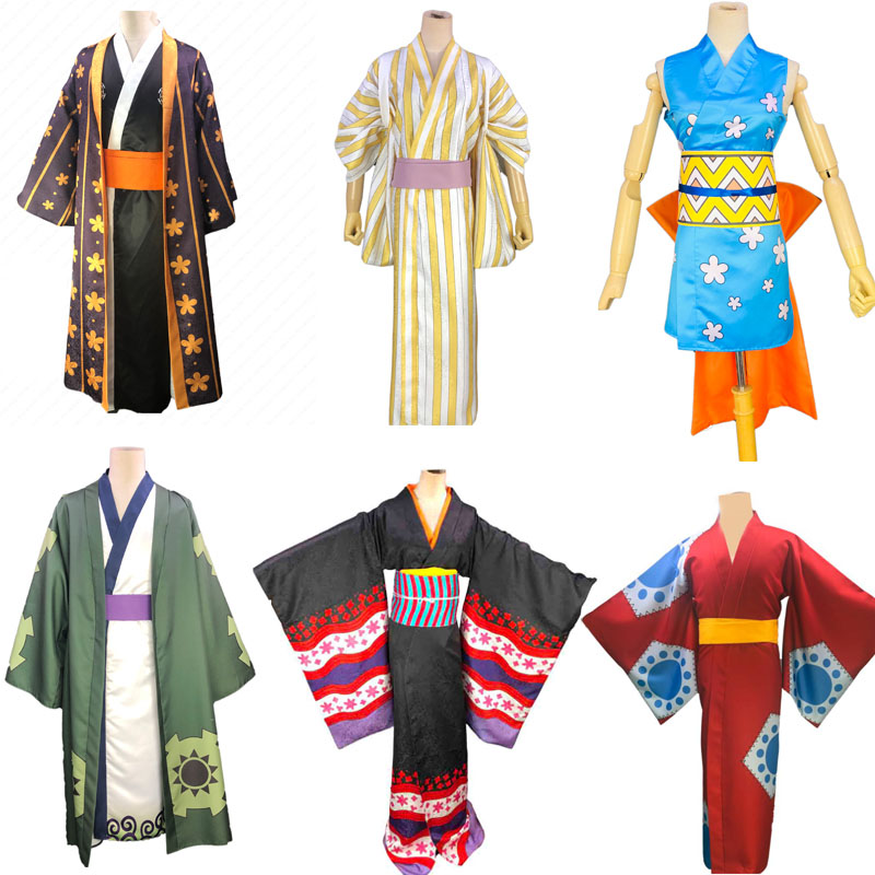 One Piece Wano Country  Zoro Nico Robin Luffy Law Nefeltari Vivi Vinsmoke Sanji Otama Nami Usopp Kimono Cosplay Costumes