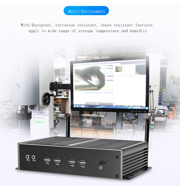 Partaker Fanless All Aluminum Alloy MINI PC Intel Core I7 4500U With Intel HD Gracphics Mini HTPC Industrial PC