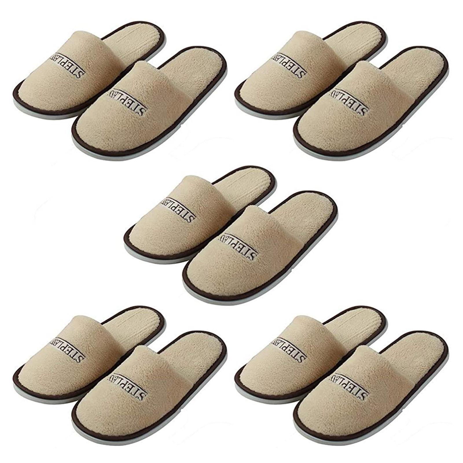 5 пар плюшевых тапочек, одноразовые закрытые тапочки для отеля, одноразовые тапочки, махровые дышащие мягкие серые туфли