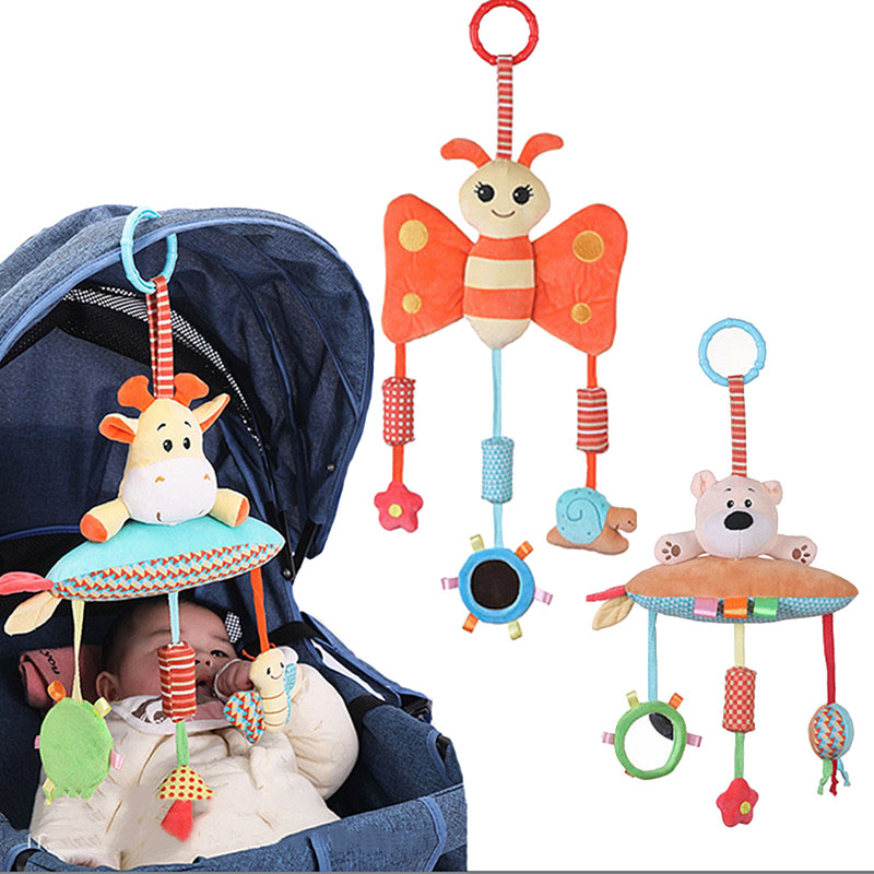 Baby Rattle Bed Bell Activity Soft Toys Sleep Well Tool Newborn Stroller Hanging Toy Cute Animal Doll Bed Hanging Plush Toy