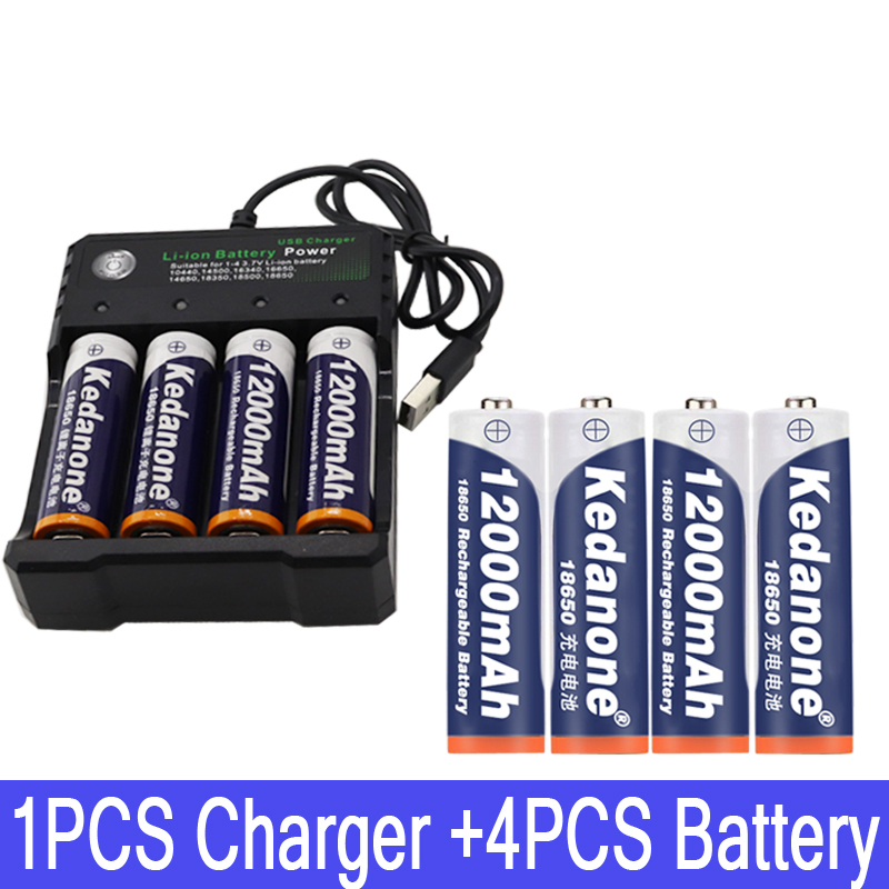 2020 18650 battery <font><b>3.7V</b></font> <font><b>12000mAh</b></font> rechargeable liion battery for Led flashlight battery 18650 battery Wholesale +USB charger image