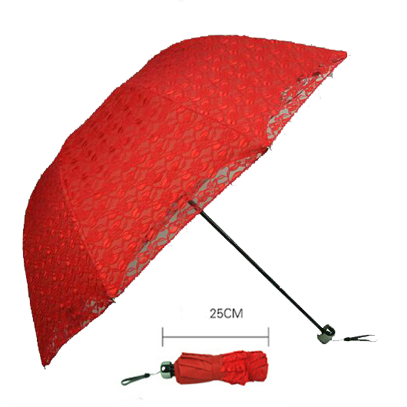 Cotton Embroidery Handmade Red Lace Parasol Folding Wedding Bridal Umbrella Women's Sun Umbrella for Party Mariage Accessories
