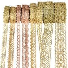 10 quintal ouro prata laço guarnição fita rolo glitter crocheted fitas webbing decoração diy artesanato presente embalagem costura suprimentos