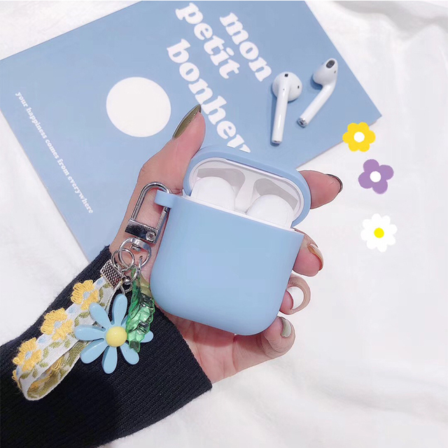 Luxury Cute Korean Flower Decoration Case for Apple Airpods Case ornament Accessories Bluetooth Earphone Silicone Cover Key Ring 2